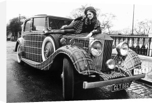 Sheena Hardy model with tartan painted Rolls Royce 1971 by Mirrorpix