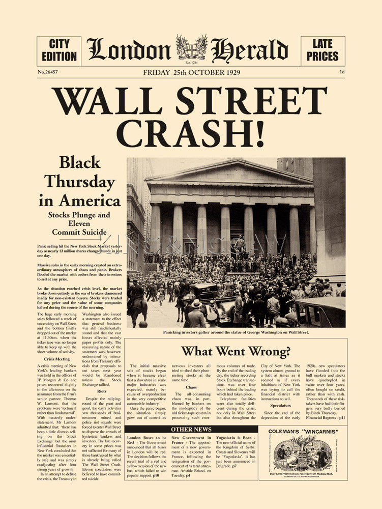Wall Street Crash Art Print by London Herald | King & McGaw