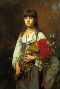 The Flower Girl by Alexei Alexeiewitsch Harlamoff