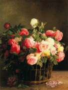 Basket of Roses by Hans Looscher
