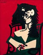 Jacqueline a Mantille sur Fond Rouge by Pablo Picasso