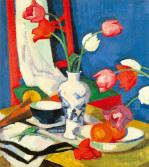 Tulips and Fruit by Samuel John Peploe