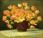 Tulips in a vase on a draped table by Peter Johan Schou