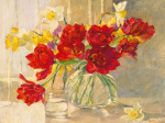 Red Tulips and Daffodils by Valeriy Chuikov
