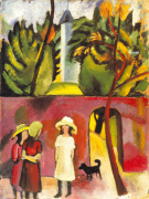 Three Girls with a Dog Front of the Garden Gate, 1913 by August Macke