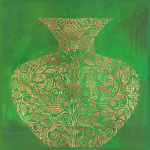 Green Vase (gold foil stamped) by Susan Gillette