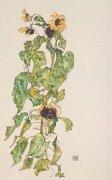 Sonnenblumenzweig by Egon Schiele