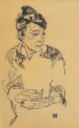 Nachdenkliche Frau by Egon Schiele