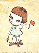 Mädchen mit den Winkerflaggen, 1996 by Yoshitomo Nara