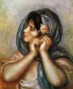 Woman Arranging Earring by Pierre Auguste Renoir