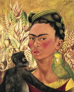 Self-Portrait with Monkey and Parrot 1942