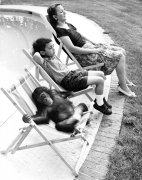 Family with chimp relax at the pool by John Drysdale