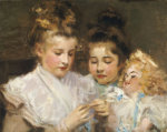 Berthe And Marjorie With Their Doll by Frederic William MacMonnies