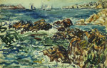 Rocky Cove With Village And Sketch Of Rocks by Maurice Prendergast