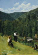 The Farmer And His Son At Harvesting, 1879. by Thomas Pollock Anshutz