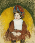 Margot In A Dark Red Costume Seated On A Round Backed Chair by Mary Cassatt
