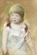 Child With Bangs In A Blue Dress by Mary Cassatt