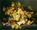 Still Life With Fruit And A Glass Of Champagne by Severin Roesen