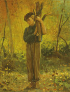 Boy Holding Logs, 1873. by Winslow Homer