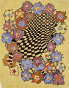 Floral And Chequered Fabric Design, Circa 1916 by Charles Rennie Mackintosh