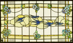 Stained Glass Panel of a Group of Swallows