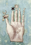 A Hand with Alchemical Symbols against the Fingers
