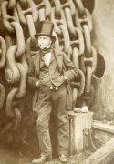 Isambard Kingdom Brunel at Millwall leaning against a Chain Drum