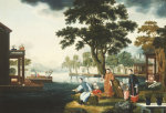 Summer: A Family Fishing By A Lake by Christie's Images