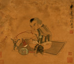 A Child Playing With Marionettes by Chen Hongshou