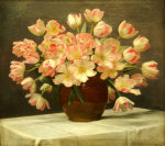 Tulips In A Vase On A Draped Table, 1915 by Peter Johan Schou