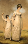 Mother And Her Daughter In White Dresses by Adam Buck