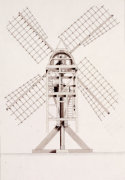 Drawings For Windmills. A Post Mill, 1814 by John Farey Jun