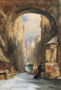 Venice: An Edicola Beneath An Archway, With Santa Maria Della Salute In The Distance, 1853 by James Holland