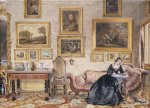 Interior Of A Drawing Room With Lady At Writing Desk by William Henry Hunt