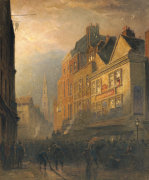 A Fire In Drury Lane By The Cock And Magpie by Henry George Hine