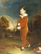Portrait Of A Young Boy In A Red Suit, Holding A Bow And Arrow by Arthur William Devis