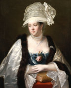 Portrait Of Dorothy Hope, Half Length In A Blue Dress by Joseph Wright Of Derby