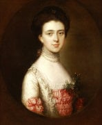 Portrait Of A Lady Bust Length In A Pink And White Dress by Thomas Gainsborough