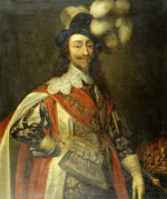 Portrait Of King Charles I, Standing Three-Quarter Length, Wearing Garter Robes, With The Crown by Christie's Images