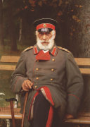 Portrait Of A Russian General Seated On A Bench, 1882 by Ivan Nikolaevich Kramskoy