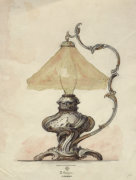 A Drawing Of A Silver Table Lamp With A Twisted Fluted Body by Christie's Images