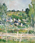 A View Of Auvers-Sur-Oise; The Fence, Circa 1873 by Paul Cezanne
