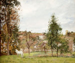 Landscape With A White Horse In Front Of The Hermitage, 1872 by Camille Pissarro