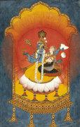 Vishnu And Lakshmi Enthroned. Basohli School C.1690