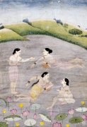 The Wives Of Raga Hindola Swimming In A Lake With The Aid Of Pitchers