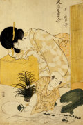 A Mother Dozing While Her Child Topples A Fish Bowl by Kitagawa Utamaro