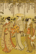 Three Women Viewing Wisteria At Kamedo by Torii Kiyonaga