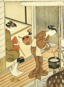 Returning Sails Of The Towel Rack. From The Series 'Eight Parlor Views' by Suzuki Harunobu