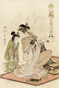 The Hour Of The Dog From The Series 'The Twelve Hours Of The Green Houses' by Kitagawa Utamaro