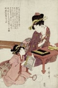 A Young Woman Seated At A Desk Writing, A Girl With A Book Looks On by Kitagawa Utamaro